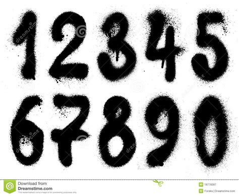 spray paint font numbers graffiti grunge numbers stock vector image