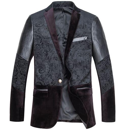leather sleeve blazer sleek fashion black velvet paisley leather sleeve 3 tone blazer