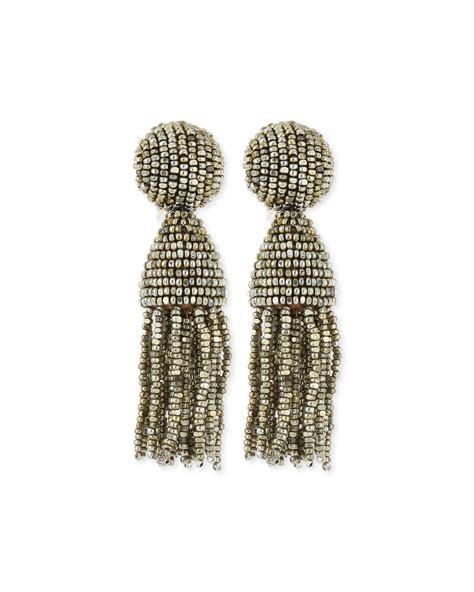 oscar de la renta beaded tassel earrings oscar de la renta beaded tassel clip earrings in
