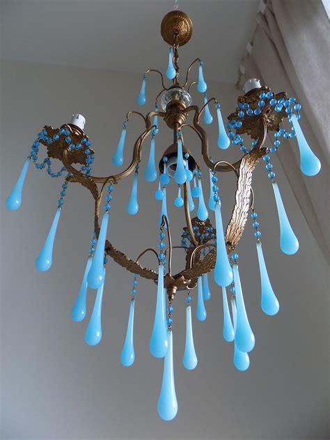 opaline chandelier murano blue opaline drops chandelier lorella dia