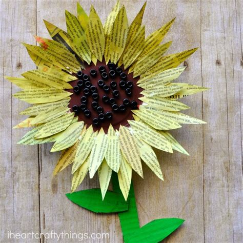 sunflower crafts for painted newspaper sunflower craft i crafty things