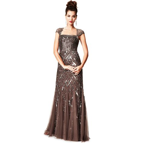 cap sleeve beaded sequined gown papell cap sleeve sequined beaded gown dress in