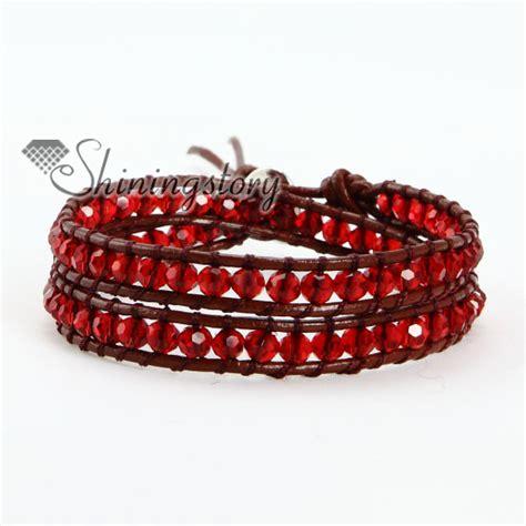 leather bead bracelets two layer bead beaded leather wrap bracelets wholesale
