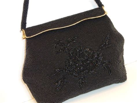 bead handbags vintage black beaded evening bag purse from historique on