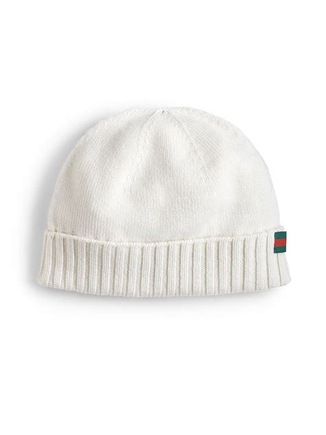 white knit hat gucci knit hat in white for lyst