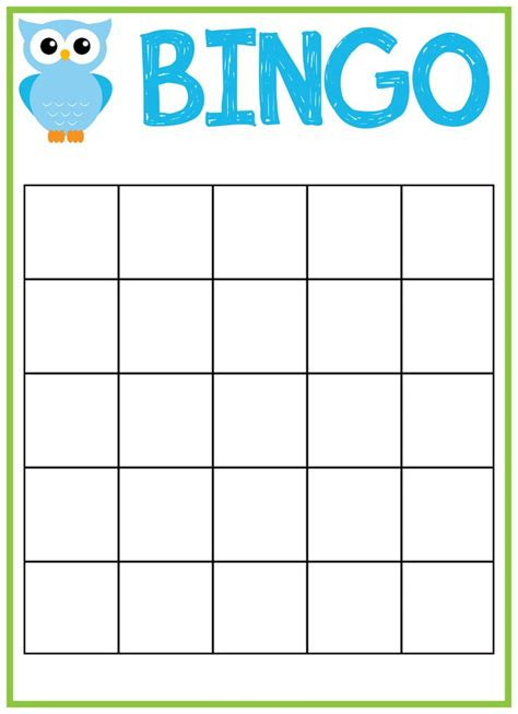 make your own bingo cards template free print bingo cards free printable owl baby shower