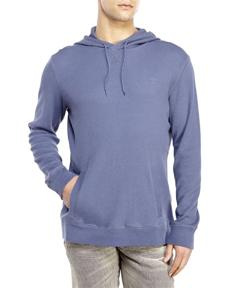 waffle knit hoodie timberland waffle knit hoodie in blue for lyst
