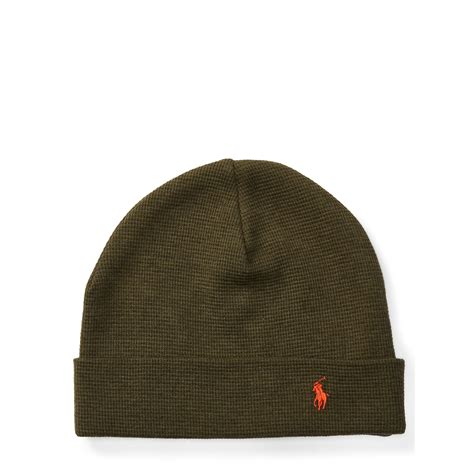 polo knit hats polo ralph waffle knit cotton hat in green for