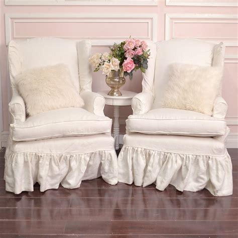 shabby chic chair slipcover new shabby chic wing chair slipcover homekeep xyz