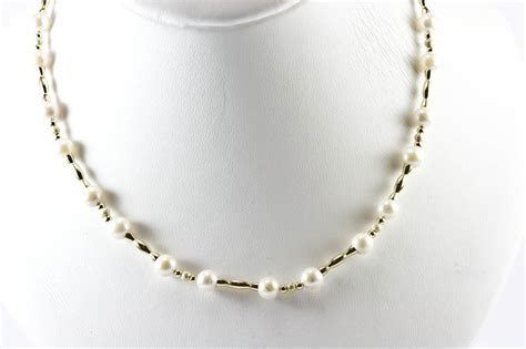 pearls with gold japanese akoya cultured pearl 14k gold necklace 16 6 5mm