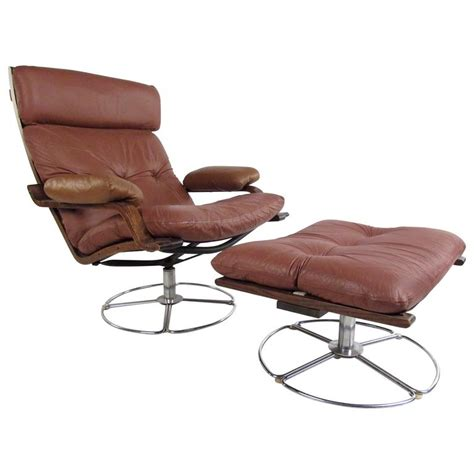 vintage swivel chairs vintage leather westnofa style swivel lounge chair with