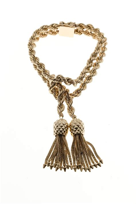 rope jewelry and co rope knot tassel gold bracelet at 1stdibs