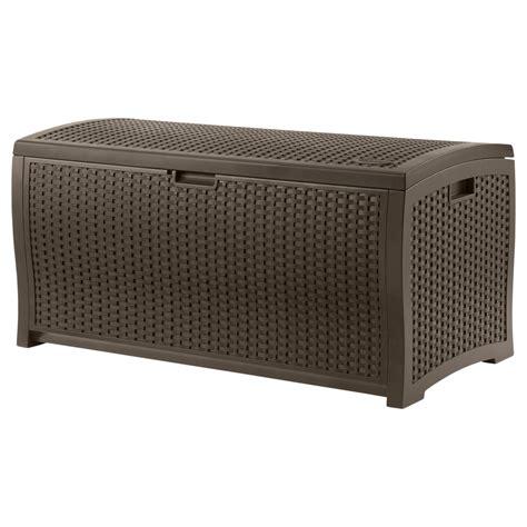 suncast patio furniture suncast 99 gallon resin wicker deck box outdoor living