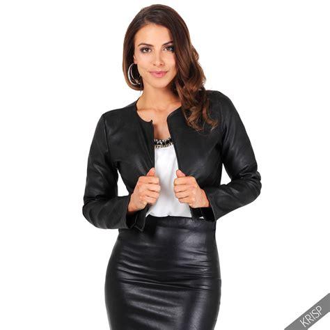 leather sleeve blazer pu leather cropped jacket open blazer sleeve bolero shrug coat ebay