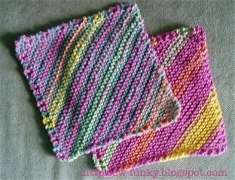 diagonal knit dishcloth sew funky striped diagonal cloth