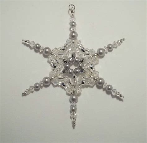beaded snowflake ornaments beaded snowflake ornament silver pearl and clear ab