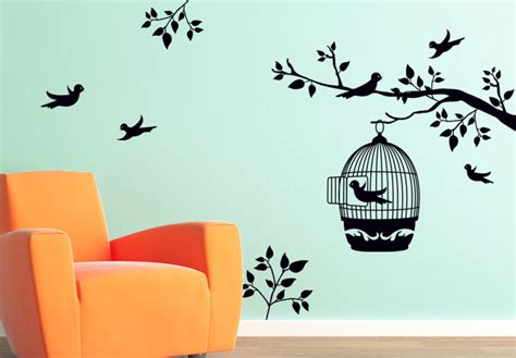 Bird Tree Wall Sticker branch with a bird cage wall decal ornament