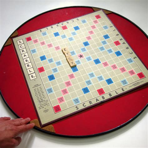 scrabble with turntable vintage scrabble turn table m k enterprises by