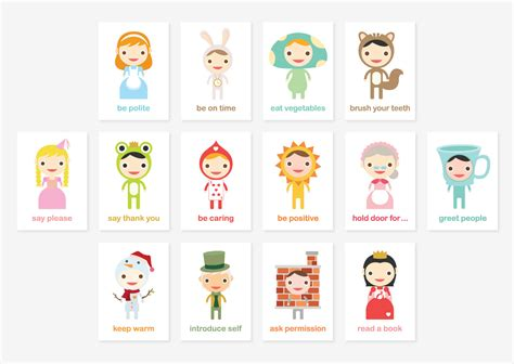 card for children tofufu happy manners card set of 43 manners