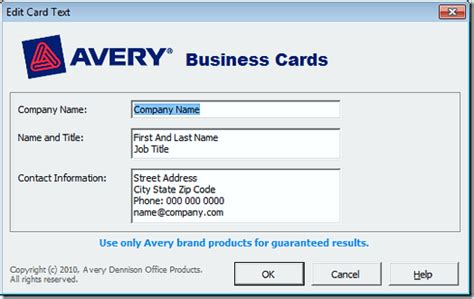 how to make business cards in word 2010 avery business card templates