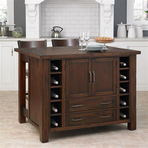 home styles kitchen island with breakfast bar home styles cabin creek kitchen island with breakfast bar and two stools by oj commerce 5410 948