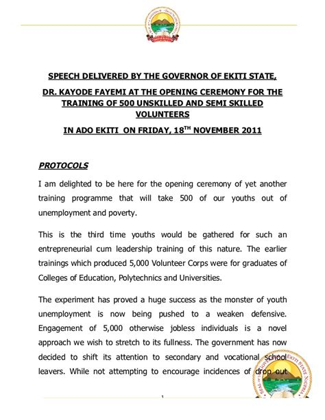 opening speech governor fayemi s speech at the opening ceremony for the