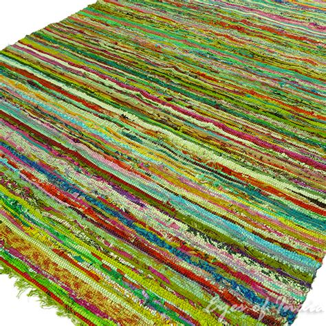 colorful rug green colorful decorative chindi woven boho bohemian rag