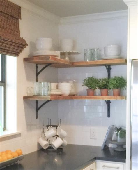 kitchen corner shelves ideas shanty on instagram simple corner shelves we bought 4 inexpensive metal brackets and