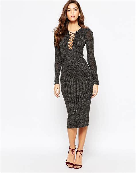 knit midi dress bardot metallic knit midi dress with lace up front in gray