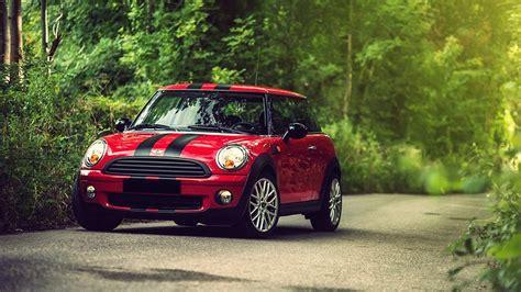 Car Wallpaper Mini by Car Mini Cooper Stripes Road Nature Forest