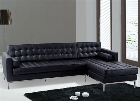 leather modern sofas sofas modern black leather sectional sofa black color