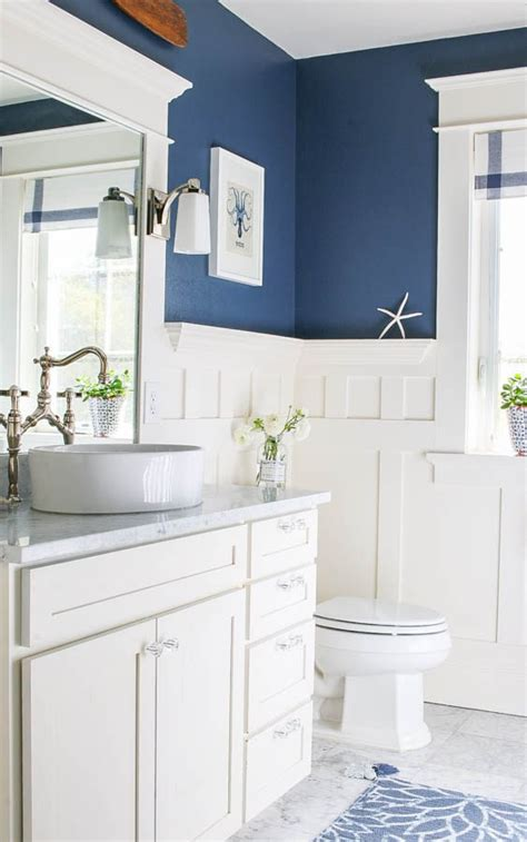 bathroom ideas blue and white navy blue and white bathroom saw nail and paint
