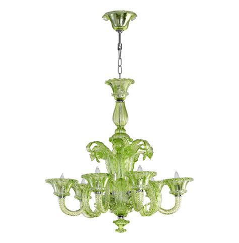 green glass chandelier la scala 30 inch pale green murano glass style 6 light