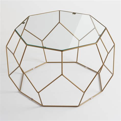 metal coffee table with glass top faceted metal coffee table with glass top world market