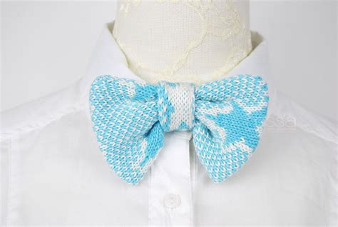 knit bow tie pattern knitted bow tie in pattern baby blue on luulla