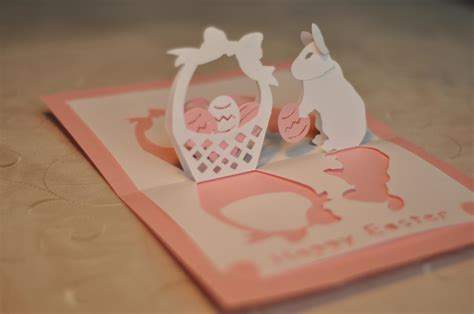 popup card easter bunny and basket pop up card template creative