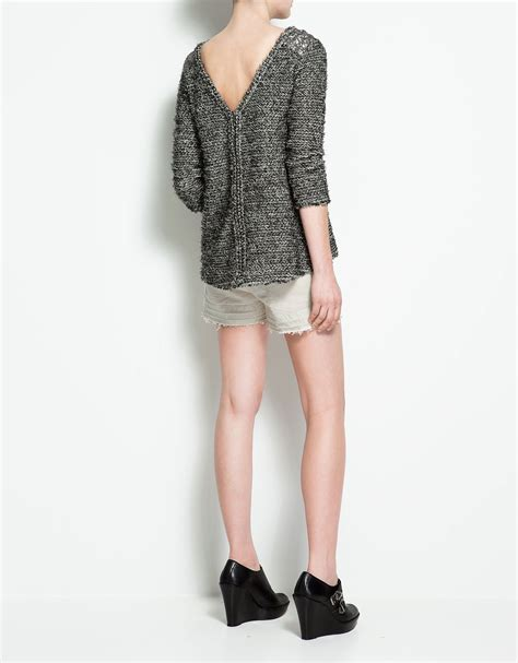 zara knit jumper zara boucle knit jumper with shoulder appliqu 233 in gray