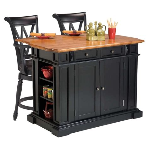 black kitchen island with stools home styles kitchen island 3 set black distressed oak with 2 deluxe bar stools in