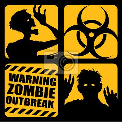 Zombie Wall Mural zombie outbreak icons wall mural beware of zombies