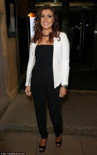 what looks with kym marsh looks stylish in strapless black jumpsuit and