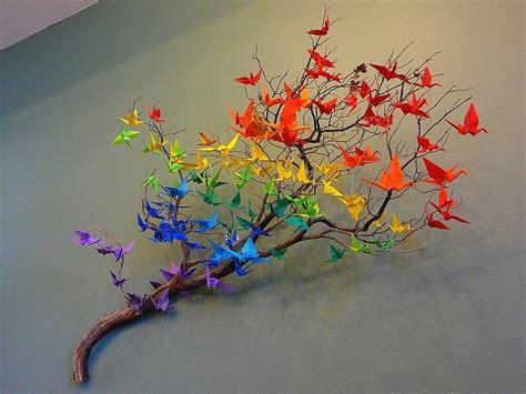 origami crane tree origami crane rainbow on a tree branch ideas