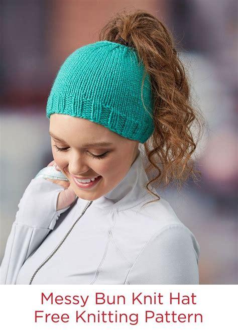 hair knitting patterns bun knit hat free knitting pattern in