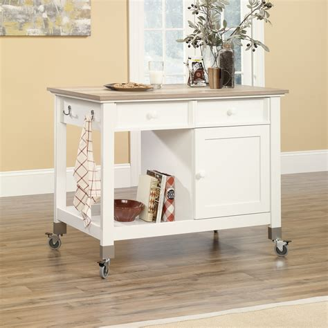 mobile kitchen islands sauder mobile kitchen island softwhite home