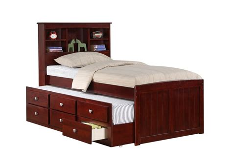 captains bed captain s bed with trundle and drawers cappuccino ebay