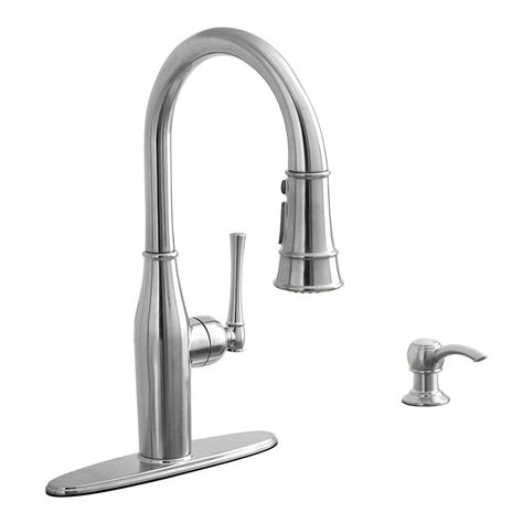 stainless steel faucet kitchen shop aquasource stainless steel 1 handle pull kitchen faucet at lowes