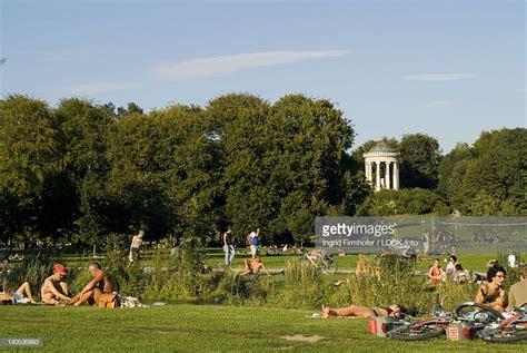 Englischer Garten München Flaucher by Sunbathing At Eisbach In Front Of Monopteros