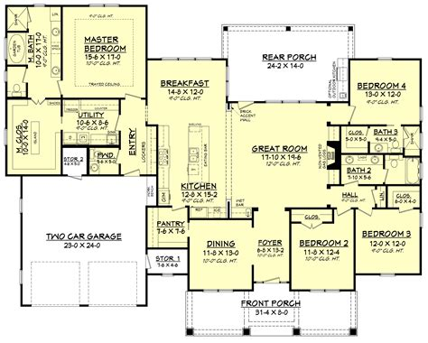 4 story house plans 4 bedrm 2759 sq ft country house plan 142 1181