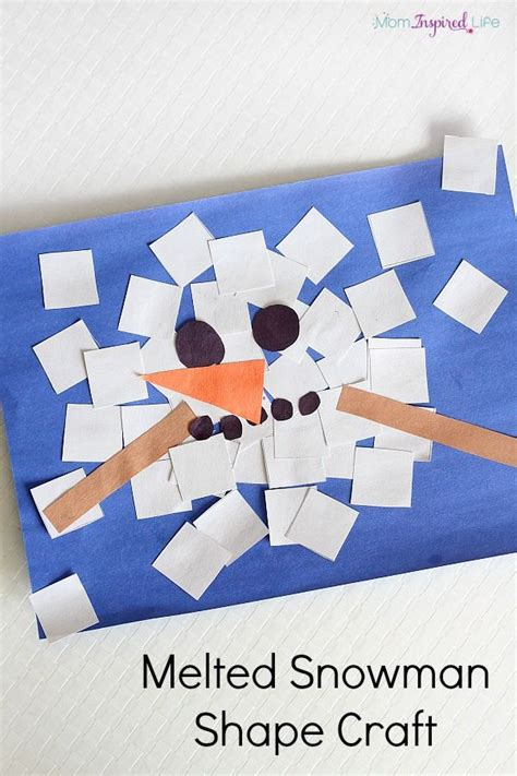 seasonal crafts for melted snowman shape craft collage shape crafts