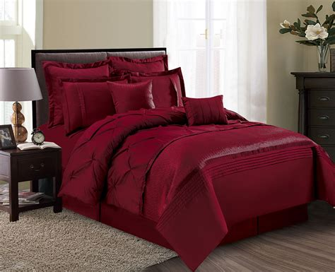 comforter set 8 aubree pinched pleat burgundy comforter set