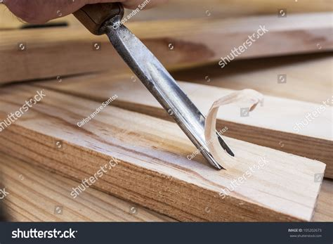 gouge woodworking gouge wood chisel carpenter tool working stock photo